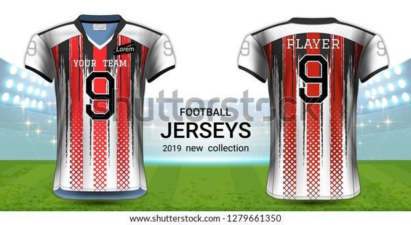 Download American Football Soccer Jerseys Uniforms Tshirt Stock Vector Royalty Free 1279661350 Free Mockups