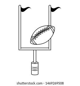 american football sport game competition equipment field objects cartoon vector illustration graphic design
