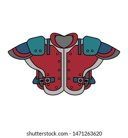american football sport game competition shoulder pads cartoon vector illustration graphic design