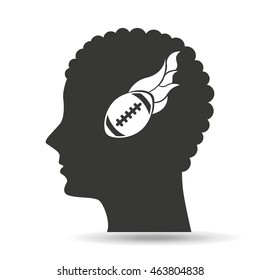 american football sport head icon, vector illustration