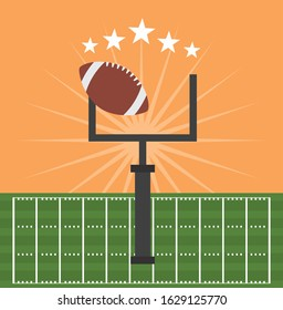american football sport poster with balloon and goal camp arch vector illustration