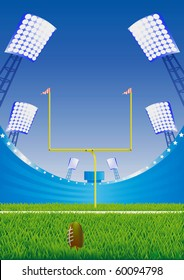 American football  stadium with detailed grass and goalpost. Vector illustration.