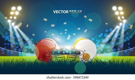 American football stadium field with helmets and a football. Vector EPS 10.