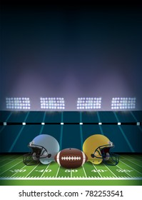 An American football stadium and field with helmets and ball illustration background. Vector EPS 10 available.