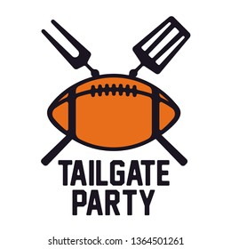 American Football Tailgate Party label, badge and design elements. Vector Illustration