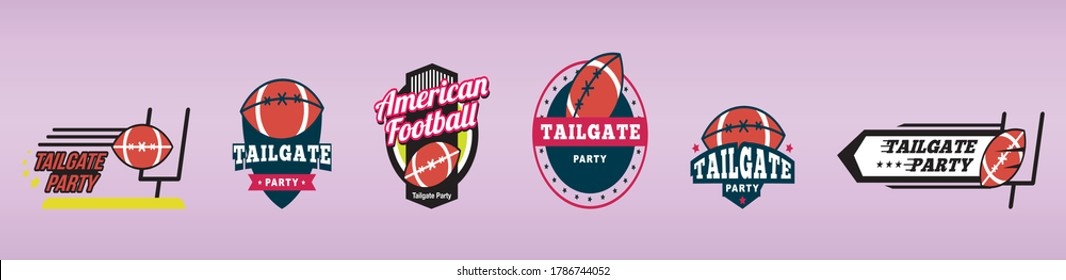 American football tailgate party labels, badges and design elements set with different models
