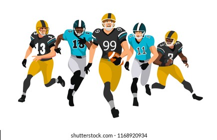 American football team players in action white on isolated. Battle for the ball