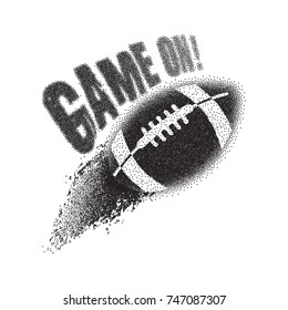American football tears the particles. Stipple ball. Game on! Vector print for t-shirt