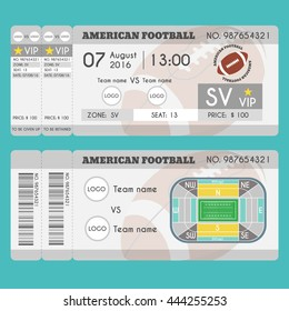 American football Ticket Modern Design. Ball, field, stadium scheme with zone. Vector illustration