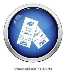 American football tickets icon. Glossy button design. Vector illustration.