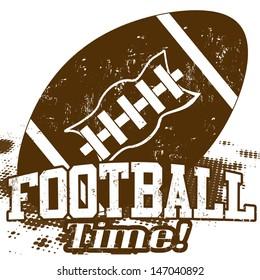 American Football Time grunge poster on white, vector illustration