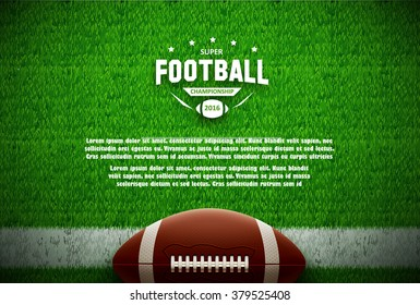 american football top view on green field