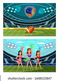 American football tournament illustrations set. Smiling girls, cheerleaders in uniform supporting sport team cartoon characters. American football arena. Rugby championship, competitive game