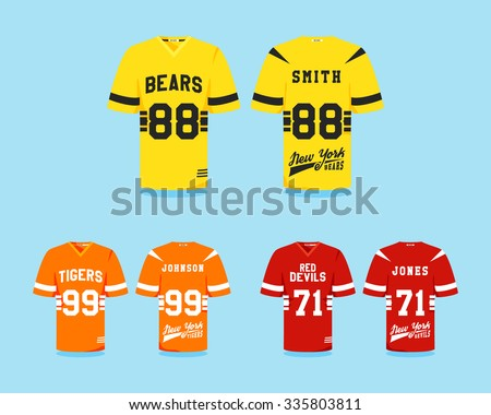 American Football Uniform Collection Tshirt Design Stock Vector ... a0975970a