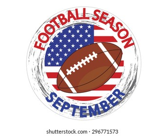 American football with USA flag inside logo with text stating football season. Vector illustration format. Saved in illustrator version 10.