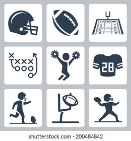 American football vector icons set