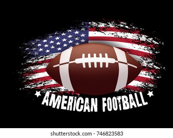 American football. Vector illustration with ball and american flag on black background. Vector grunge flag.