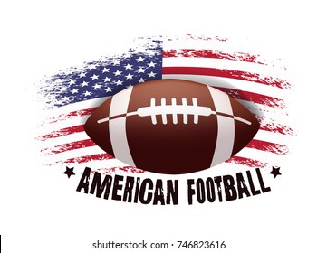 American football. Vector illustration with ball and american flag. Vector grunge flag.
