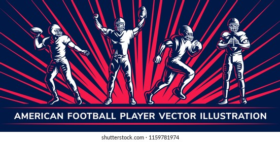 American football vector player illustration collections on a dark background