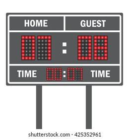 American football vector scoreboard. Sport football, scoreboard american game