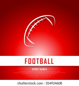 American Football White Red Freehand Sketch Graphic Design Vector Illustration EPS10