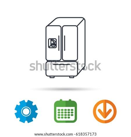 American Fridge Icon Refrigerator Ice Sign Stock Vector