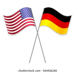American and German crossed flags. United States of America combined with Germany isolated on white. Language learning, international business or travel concept.