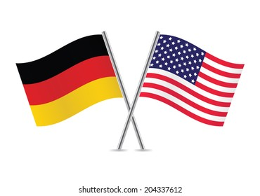 American and German flags. Vector illustration.