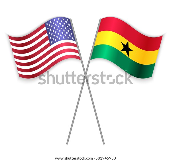 American and Ghanaian crossed flags. United States of America combined with Ghana isolated on white. Language learning, international business or travel concept.