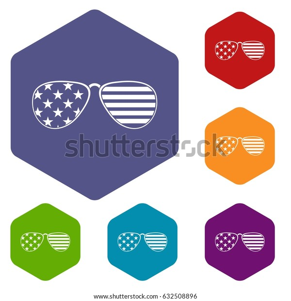 American glasses icons set hexagon isolated vector illustration