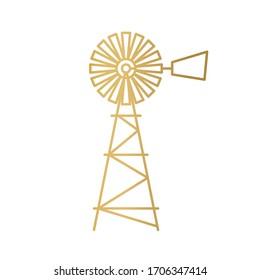 american golden retro windmill icon - vector illustration