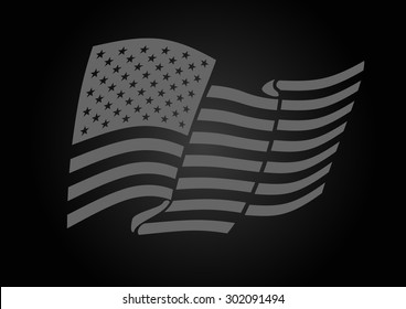 American gray flag waving. Vector illustration on black background