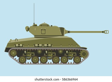 American green medium tank M4 in profile flat vector isolated