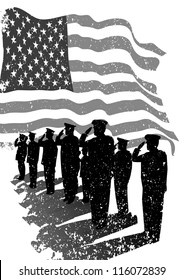 American grunge flag with silhouettes of soldiers saluting.