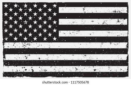 American Grunge Flag.Black and white USa flag.