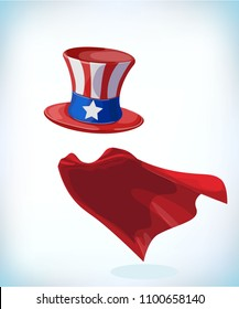 American hat. Independence day hat. Masquerade costume headdress. Carnival or Halloween mask. Cartoon Vector illustration. Funny super hero flying with cloak. Funny super hero flying with cloak.