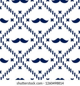 American Hipster Mustache Tartan Plaid and Argyle Vector Patterns in Patriotic White and Blue. 4th of July or Father's Day Backgrounds. Barbershop Style. Pattern Tile Swatches Included. eps10