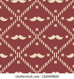 American Hipster Mustache Tartan Plaid and Argyle Vector Patterns in Patriotic Red, White and Blue. 4th of July or Father's Day Backgrounds. Barbershop Style. Pattern Tile Swatches Included. eps 10