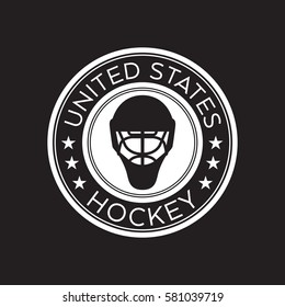 An American hockey crest in vector format. This round shield features stars, text that says United States, and a goalie mask.