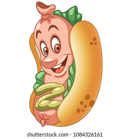 American Hot Dog. Happy Fast Food concept. Funny Emoticon. Smiley idea. Emoji cartoon design for kids coloring book, colouring page, t-shirt print, icon, logo, label, patch, sticker.