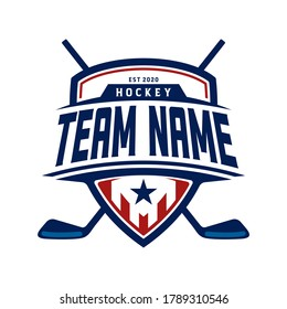 American Ice Hockey Shield Emblem Badge logo design inspiration