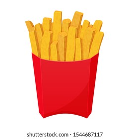 American icon with french fries on white background. Fast food symbol. Yellow potato. Cartoon vector illustration. Isolated on white. Object for packaging, advertisements, menu.