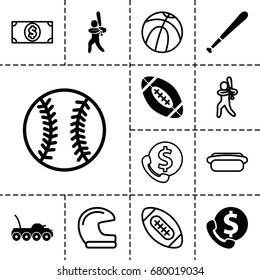 American icon. set of 13 filled and outline american icons such as baseball player, baseball bat, american football, military car, hot dog, money dollar, baseball, basketball