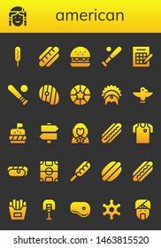 american icon set. 26 filled american icons.  Collection Of - Corndog, Native american, Hot dog, Burger, Baseball, Bingo, Steak, Basketball, Headdress, Totem, Signs, George washington