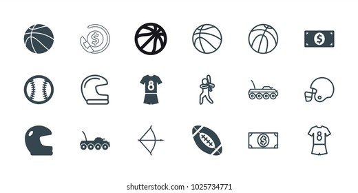 American icons. set of 18 editable filled and outline american icons: helmet, football uniform, baseball, basketball, money dollar, military car, baseball player, bow