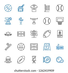 american icons set. Collection of american with steaks, sign, american football, burger, hot dog, basketball, baseball, dreamcatcher, rugby. Editable and scalable american icons.