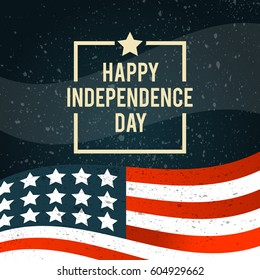 American Independence Day. The 4th of July. Banner with American national flag c texture. Vector illustration.