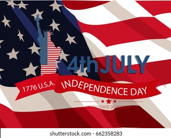 American Independence Day . 4th of July.Vector background for greeting cards, posters, leaflets and brochure.