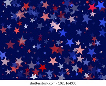 American Independence Day background with stars.  Holiday confetti in USA flag colors for Independence Day. Red blue stars American patriotic pattern. 4th of July trendy stardust.