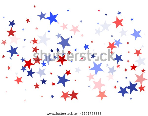 American Independence Day background with stars.  Holiday confetti in USA flag colors for President Day. Red blue stars American patriotic banner. July 4 cool stardust.